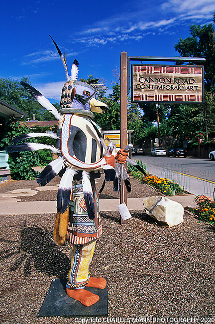 A large sculpture resembling a kachina at Canyon Road Contemporary Art is a harbinger of the exciting art to be seen at any time of year on Santa Fe's premier gallery walk.