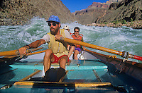 Jeff Schloss rowing a dory on the Colorado River, below Phantom Ranch, Grand Canyon National Park, Arizona, AGPix_0245.