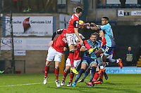 Paris Cowan-Hall of Wycombe Wanderers battles for the ball during the Sky Bet League 2 match between Wycombe Wanderers and Morecambe at Adams Park, High Wycombe, England on 12 November 2016. Photo by David Horn.