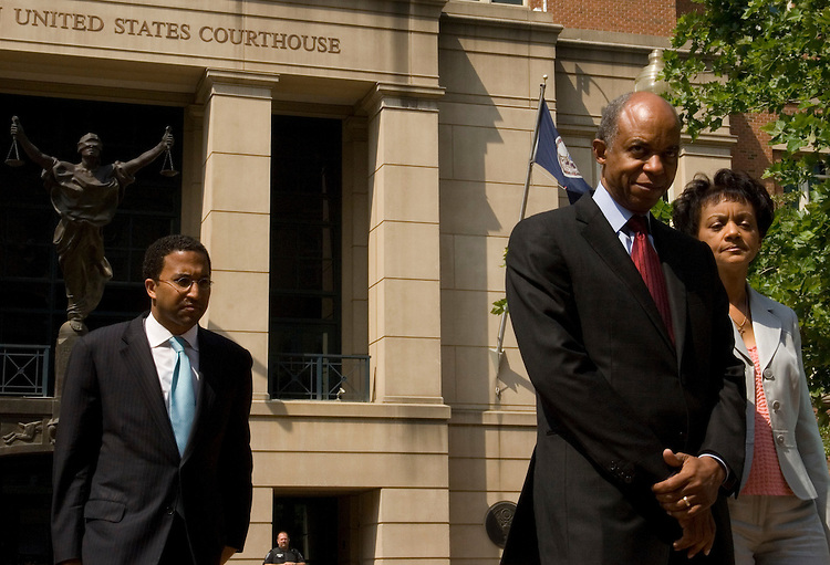 Indicted Rep. William Jefferson, D-La., leaves the U.S. District Court for the Eastern District of Virginia in Alexandria, Va., on Friday, June 8, 2007, following Jefferson's arraignment on federal corruption charges. Rep. Jefferson's wife Andrea Green Jefferson is to his right.