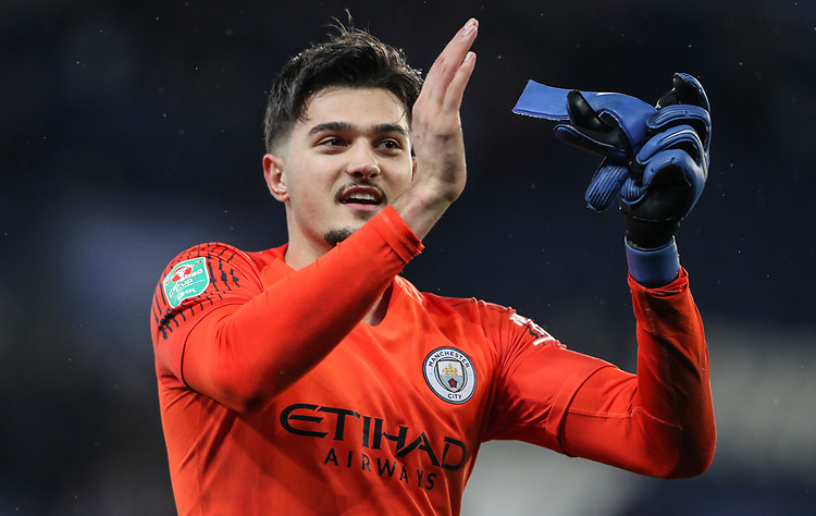 Manchester City 's goalkeeper Arijanet Muric applauds the fans at the end of the match<br /> <br /> Photographer Andrew Kearns/CameraSport<br /> <br /> English League Cup - Carabao Cup Quarter Final - Leicester City v Manchester City - Tuesday 18th December 2018 - King Power Stadium - Leicester<br />  <br /> World Copyright © 2018 CameraSport. All rights reserved. 43 Linden Ave. Countesthorpe. Leicester. England. LE8 5PG - Tel: +44 (0) 116 277 4147 - admin@camerasport.com - www.camerasport.com