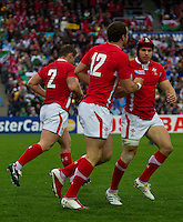 Rugby World Cup Hamilton Wales v Fiji  Pool D 02/10/2011.Jamie Roberts  (Wales)  celebrates scoring a try with Leigh Halfpenny  (Wales).Photo Mike Frey Fotosports International/AMN