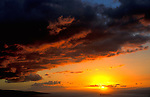 Sunset, Hawaii, clouds, sky, orange, stormy, Kauai Island.Hawaii....
