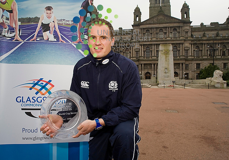 George Square,  Glasgow Scotland 7s coach, Stephen Gemmell, and captain, Scott Forrest, Councillor Archie Graham, parade Rugby World Cup Sevens glassware, at the home of the 2014.Commonwealth Games, Glasgow, where rugby sevens is a core sport. The squad jet off to hong kong saturday.George Square,  Glasgow Scotland 7s  captain, Scott Forrest, parades Rugby World Cup Sevens glassware, at the home of the 2014.Commonwealth Games, Glasgow, where rugby sevens is a core sport. The squad jet off to hong kong saturday.