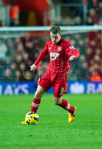01.01.2013 Southampton, England.  Southampton's Steven Davis in action during the Premier League game between Southampton and Arsenal at St Mary's Stadium.