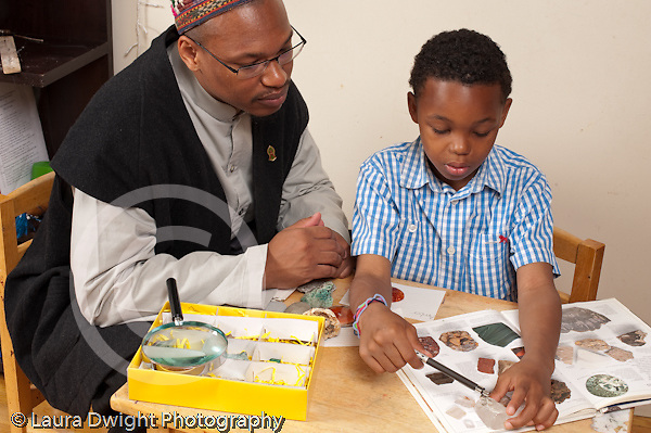 8 year old boy sorting and classifying rock collection using magnifying glass and illustrations in book horizontal with father