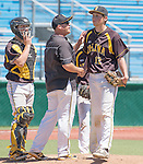 Galena coach Dave Kulikoski takes the ball from pitcher Kyle Pauly in the NIAA Division I Northern Region Baseball Championship between the Galena Grizzlies and the Reno Huskies played on Saturday, May 14, 2016 at Peccole Park in Reno, Nevada.