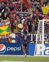 New England Revolution defender Emmanuel Osei (5) acknowledges fans. The New England Revolution defeated Seattle Sounders, 2-1, at Gillette Stadium on September 26, 2009.