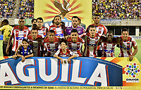 BARRANCABERMEJA- COLOMBIA - 24 - 07 - 2017: Los jugadores de Atletico Junior, posan para una foto, durante partido Alianza Petrolera y Atletico Junior, de la fecha 4 por la Liga Aguila II 2017 en el estadio Daniel Villa Zapata en la ciudad de Barrancabermeja. / The players of Atletico Junior, pose for a photo, during a match between Alianza Petrolera and Atletico Junior, for date 4th the Liga Aguila II 2017 at the Daniel Villa Zapata stadium in Barrancabermeja city. Photo: VizzorImage  / Jose D Martinez / Cont.
