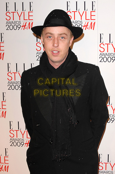 JAMES BROWN.The Elle Style Awards 2009, Big Sky London, London, England..February 9th, 2009.half length coat jacket black hat .CAP/BEL.©Tom Belcher/Capital Pictures.