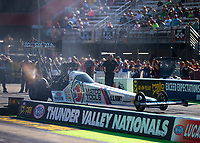 Jun 15, 2018; Bristol, TN, USA; NHRA top fuel driver Antron Brown during qualifying for the Thunder Valley Nationals at Bristol Dragway. Mandatory Credit: Mark J. Rebilas-USA TODAY Sports