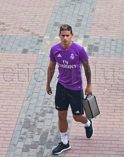 29.07.2016. Ann Arbor, Michigan, USA.  Real Madrid midfielder James Rodríguez arrives for a training session at Michigan Stadium ahead of their International Champions Cup game with Chelsea, Saturday, July 30, 2016 in Ann Arbor, Michigan, USA.