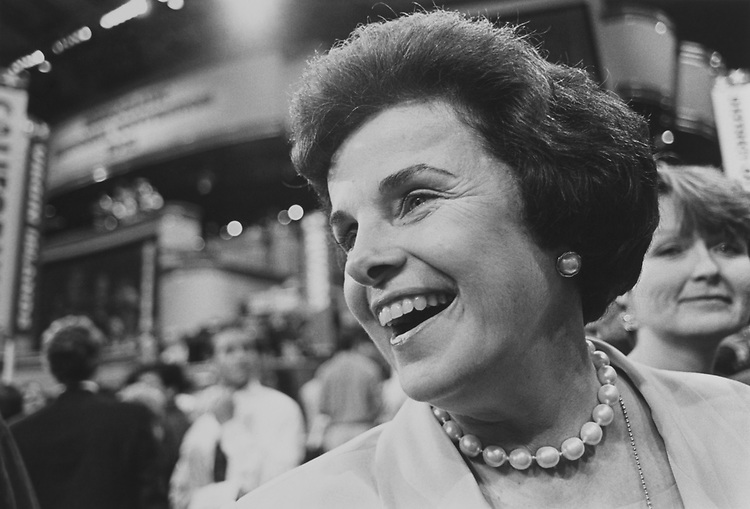 Sen. Dianne Feinstein, D-Calif., at the Democratic National Convention in July 1992. (Photo by Maureen Keating/CQ Roll Call via Getty Images)