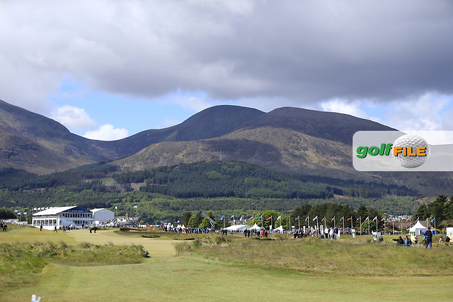 The 18th hole during Friday's Round 2 of the 2015 Dubai Duty Free Irish Open, Royal County Down Golf Club, Newcastle Co Down, Northern Ireland 5/29/2015<br />  Picture Eoin Clarke, www.golffile.ie