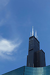Looking up at the Willis Tower 233 South Wacker Dr. (formerly the Sears Tower) on a clear summer day, Friday, June 3, 2016. (DePaul University/Jeff Carrion)