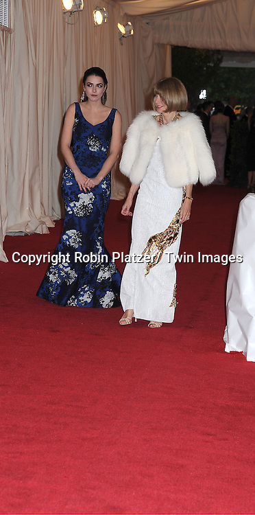 "Bee Shaffer and mom Anna Wintour attends the Costume Institute Gala Benefit celebrating ""Schiaparelli and Prada: Impossible Conversations"".an exhibition at the Metropolitan Museum of Art in New York City on May 7, 2012."