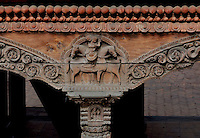 A maginificent piece of architecural art in the heritage temple complex of Nepa ina and around Kathmandu. The handcrafted wood sculptures and carvings on the doors, windows and balustrades are unique to Nepali cultural art.