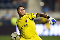 Real Salt Lake goalkeeper Nick Rimando (18). The Philadelphia Union and Real Salt Lake played to a 0-0 tie during a Major League Soccer (MLS) match at PPL Park in Chester, PA, on August 24, 2012.