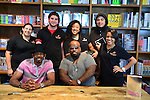 CORAL GABLES, FL - SEPTEMBER 21: Big Gipp of the Goodie Mob and CeeLo Green greets fans and signs copies of his book 'Everybodys Brother' pose for picture with kitchen staff at Books and Books on September 21, 2013 in Coral Gables, Florida. (Photo by Johnny Louis/jlnphotography.com)