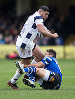 Bristol Bears' Charles Piutau is tackled by Bath Rugby's Jackson Willison<br /> <br /> Photographer Bob Bradford/CameraSport<br /> <br /> Gallagher Premiership - Bath Rugby v Bristol Bears - Sunday 1st March 2020 - The Recreation Ground - Bath<br /> <br /> World Copyright © 2020 CameraSport. All rights reserved. 43 Linden Ave. Countesthorpe. Leicester. England. LE8 5PG - Tel: +44 (0) 116 277 4147 - admin@camerasport.com - www.camerasport.com