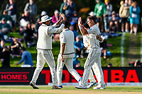 Jeet Raval celebrates Trent Boult of the Black Caps wicket of James Vince of England during Day 3 of the Second International Cricket Test match, New Zealand V England, Hagley Oval, Christchurch, New Zealand, 1st April 2018.Copyright photo: John Davidson / www.photosport.nz