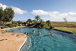 Hawaii: Molokai, The Lodge at Molokai Ranch, a major lodging with a handsome facade, swimming pool, Great Room lobby, and ranch-decor guest roooms..Photo himolo188-72336..Photo copyright Lee Foster, www.fostertravel.com, lee@fostertravel.com, 510-549-2202