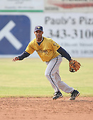 2007:  Smelin Perez of the State College Spikes takes infield prior to a game vs. the Batavia Muckdogs in New York-Penn League baseball action.  Photo copyright Mike Janes Photography 2007.