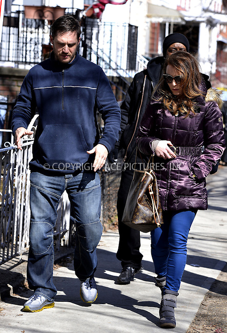 WWW.ACEPIXS.COM....March 27 2013, New York City....Actors Tom Hardy and Noomi Rapace on the set of the new movie 'Animal Rescue' on March 27 2013 in New York City......By Line: Curtis Means/ACE Pictures......ACE Pictures, Inc...tel: 646 769 0430..Email: info@acepixs.com..www.acepixs.com