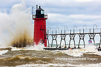 64795-02402 South Haven Lighthouse with high waves crashing South Haven,  MI