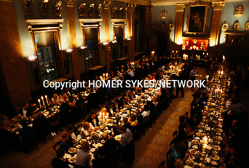'CITY OF LONDON', INTERIOR AERIAL VIEW OF DINNERS UPSTAIRS AT THE FISHMONGERS HALL, 1992