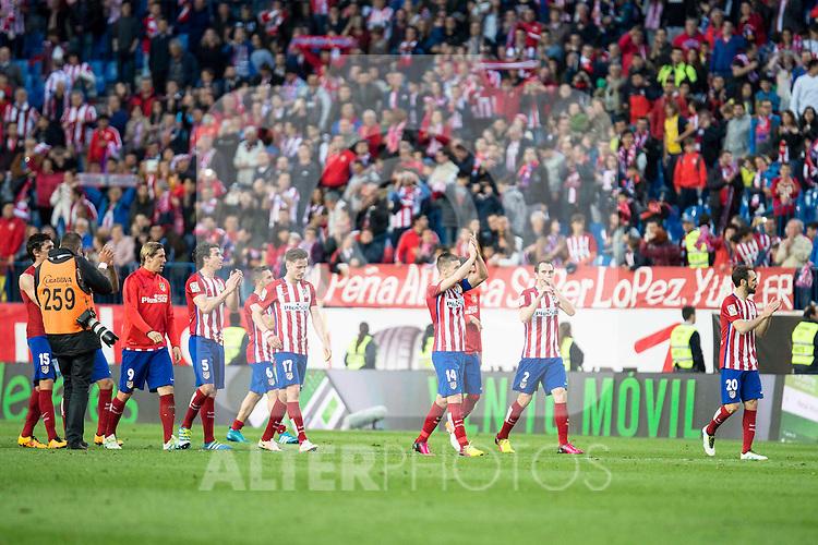 Atletico de Madrid's players during La Liga Match at Vicente Calderon Stadium in Madrid. May 14, 2016. (ALTERPHOTOS/BorjaB.Hojas)