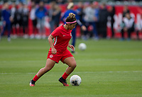 CARSON, CA - FEBRUARY 9: Desiree Scott #11 of Canada warming up during a game between Canada and USWNT at Dignity Health Sports Park on February 9, 2020 in Carson, California.