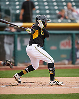 Eric Young Jr. (8) of the Salt Lake Bees follows through on his swing against the El Paso Chihuahuas in Pacific Coast League action at Smith's Ballpark on April 30, 2017 in Salt Lake City, Utah. El Paso defeated Salt Lake 12-3. This was Game 2 of a double-header originally scheduled on April 28, 2017. (Stephen Smith/Four Seam Images)