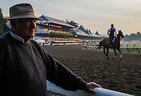 Hall of Fame trainer H. Allen Jerkens watches morning workouts at Saratoga Race Course on Travers Stakes Day  in Saratoga Springs, New York on August 25, 2012.