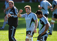 All Blacks skills coach mick Byrne, captain Richie McCaw and Isaia Toeava. All Blacks Training Session at Rugby League Park, Newtown, Wellington. Thursday 17 September 2009. Photo: Dave Lintott/lintottphoto.co.nz