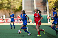 Seattle, WA - Saturday, August 26th, 2017: Rumi Utsugi and Lindsey Horan during a regular season National Women's Soccer League (NWSL) match between the Seattle Reign FC and the Portland Thorns FC at Memorial Stadium.