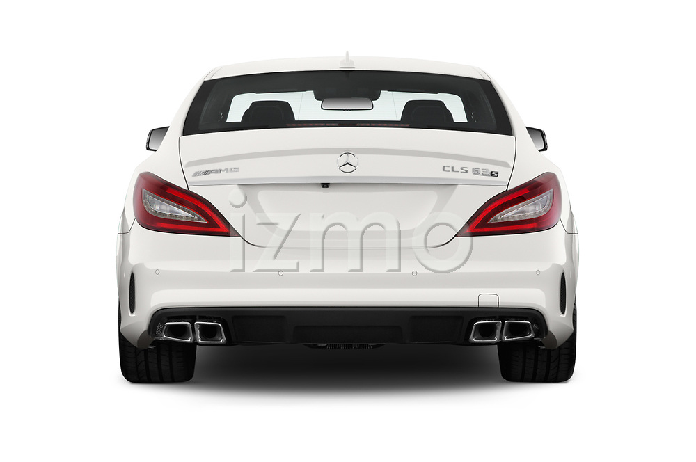 Straight rear view of 2018 Mercedes Benz CLS-Class AMG-CLS63-4MATIC 4 Door Sedan Rear View  stock images
