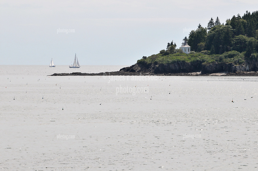 Tip of Haskell Island with Sailboats, Lobster Buoys, Rock Cliff and Gazebo. View from the Greeley Cottage, South Harpswell, Maine