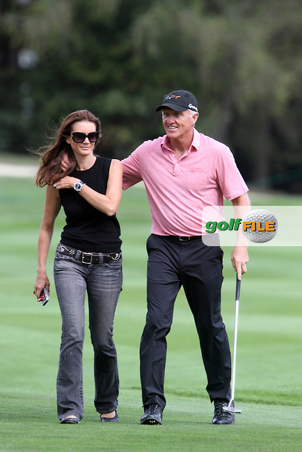 Greg Norman (AUS) with his wife Kirsten on the 17th on the Pro Am Day of the Omega European Masters 2012, Golf Club Crans-Sur-Sierre, Crans Montana, Switzerland, 29/8/12...(Photo Jenny Matthews/www.golffile.ie)