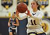Morgan Camarda #11 of Massapequa makes a pass during a Nassau County Conference AA-1 varsity girls basketball game against Oceanside at Massapequa High School on Friday, Jan. 12, 2018. Massapequa won by a score of 65-37.