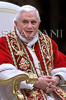 "Pope Benedict XVI arrives at the end of the mass of ""Day of the consecrated life"" celebrated by Cardinal Franc Rode in Saint Peter's Basilica at the Vatican ..February 2, 2008 .. ."