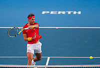 4th January 2020; RAC Arena, Perth, Western Australia; ATP Cup Australia, Perth, Day 2; Spain versus Georgia Rafael Nadal of Spain plays a volley at the net against Nikoloz Basilashvili of Georgia - Editorial Use