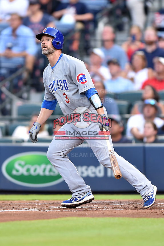 Chicago Cubs catcher David Ross (3) swings at a pitch during a game against the Atlanta Braves on July 18, 2015 in Atlanta, Georgia. The Cubs defeated the Braves 4-0. (Tony Farlow/Four Seam Images)