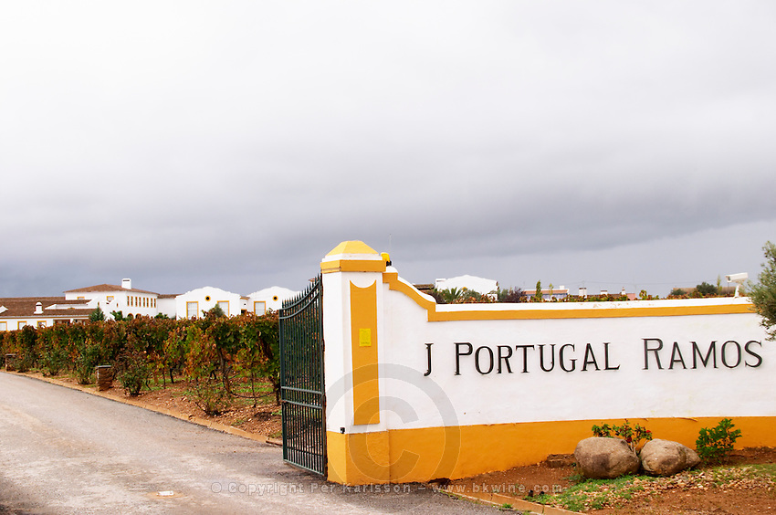 The winery. Sign on the entrance gate. J Portugal Ramos Vinhos, Estremoz, Alentejo, Portugal