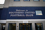 Southend United 1 Burton Albion 1, 22/02/2016. Roots Hall, League One. The main entrance to Roots Hall stadium, pictured before Southend United took on Burton Albion in a League 1 fixture. Founded in 1906, Southend United moved into their current ground in 1955, the construction of which was funded by the club's supporters. Southend won this match by 3-1, watched by a crowd of 6503. Photo by Colin McPherson.