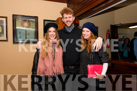 Ciara Walsh, Michael Buggle and Hannah Mullen enjoying Other Voices at Benners, Dingle, on Saturday night.