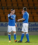 St Johnstone v Motherwell....31.10.14   SPFL<br /> Michael O'Halloran celebrates his first goal with Frazer Wright<br /> Picture by Graeme Hart.<br /> Copyright Perthshire Picture Agency<br /> Tel: 01738 623350  Mobile: 07990 594431