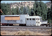 RGS Goose #5 grounded (off the rails) next to the depot at Dolores.  Road is abandoned.  <br /> RGS  Dolores, CO  ca. 1952