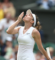 Simona Halep (ROU) celebrates by blowing a kiss to the heavens after winning her match against Victoria Azarenka (BLR) in their Ladies' Singles Third Round match<br /> <br /> Photographer Rob Newell/CameraSport<br /> <br /> Wimbledon Lawn Tennis Championships - Day 5 - Friday 5th July 2019 -  All England Lawn Tennis and Croquet Club - Wimbledon - London - England<br /> <br /> World Copyright © 2019 CameraSport. All rights reserved. 43 Linden Ave. Countesthorpe. Leicester. England. LE8 5PG - Tel: +44 (0) 116 277 4147 - admin@camerasport.com - www.camerasport.com