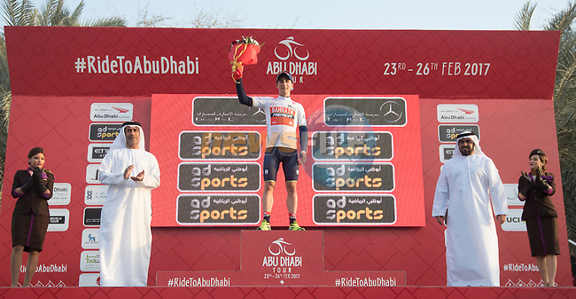 Niccolo Bonifazio (ITA) Bahrain-Merida wears the young riders White Jersey on the podium at the end of Stage 1 Emirates Motor Company Stage of the 2017 Abu Dhabi Tour, running 189km from Madinat Zayed through the desert and back to Madinat Zayed, Abu Dhabi. 23rd February 2017<br /> Picture: ANSA/Claudio Peri | Newsfile<br /> <br /> <br /> All photos usage must carry mandatory copyright credit (&copy; Newsfile | ANSA)